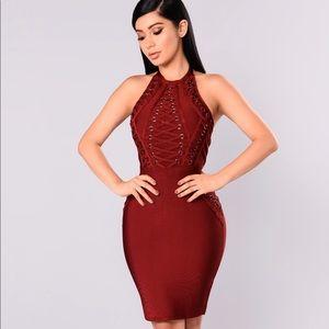 Fashion Nova Burgundy Bandage Dress